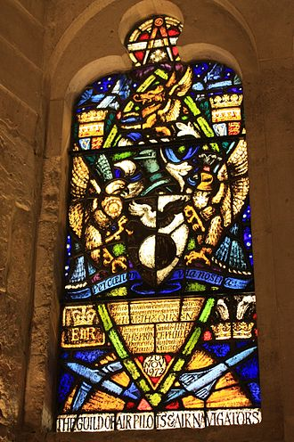 The Honourable Company of Air Pilots - Stained glass to the Guild of Air Pilots and Air Navigators, Guildhall, London