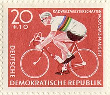 20 Pfennig Stamp of the German Democratic Republic for the Road Cycling World Championships 1960