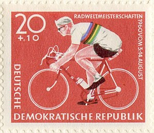 Cycle sport - In many European countries, bicycle racing is a source of national pride: German Democratic Republic postage stamp depicting Gustav-Adolf Schur, 1960