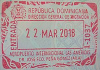 Stamp of entry in Dominican Repubic 2018.jpg