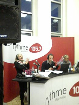 Stand Of CFGL-FM (Rythme FM 105,7) With Sébastien Benoit, Mitsou Gélinas & Véronique Cloutier At The Ste. Justine Hospital.jpg