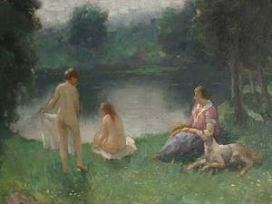 Painting Women On the Shore by Czech painter S...