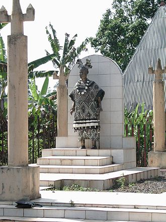 Cameroon - A statue of a chief in Bana, West Region.