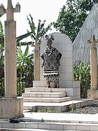 A statue of a chief in Bana, West Province, shows the prestige afforded such rulers. The Cameroonian government recognises the power of traditional authorities provided their rulings do not contradict national law.