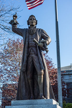 No taxation without representation - Bronze sculpture of James Otis, Jr stands in front of the Barnstable County Courthouse.