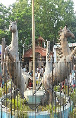 Statue of horses at the Nandikeshwari Temple complex