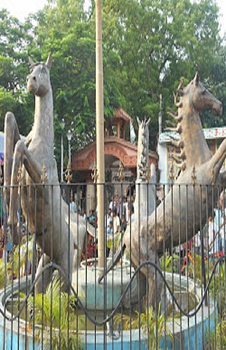 Sainthia - Statue of horses at the Nandikeshwari Temple complex