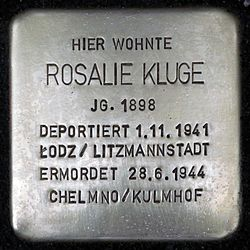 Photo of Rosalie Kluge brass plaque