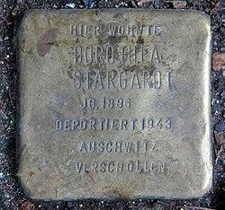 Photo of Dorothea Stargardt brass plaque