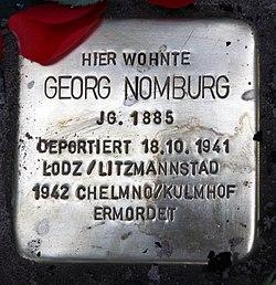 Photo of Georg Nomburg brass plaque