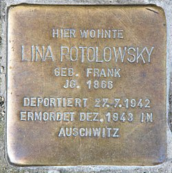 Photo of Lina Potolowsky brass plaque