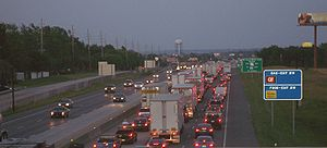 Interstate 70 in Missouri - I-70 west of St. Louis; shown here is rush-hour traffic congestion. Since this photograph was taken, this section has been widened to 4 lanes in each direction.