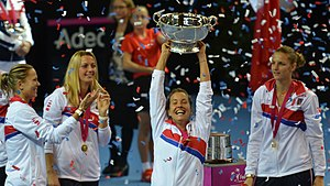 Barbora Strýcová - Strýcová celebrating the Czech Fed Cup triumph