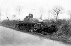 Sturmgeschütz IV - A StuG IV destroyed and abandoned in Normandy, 1944.
