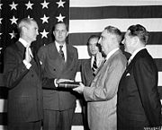 Stuart Symington shown taking the oath of office as Secretary of the Air Force