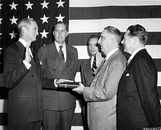 United States Secretary of the Air Force - Stuart Symington is sworn-in as Secretary of the Air Force by Chief Justice Fred M. Vinson on 18 September 1947.