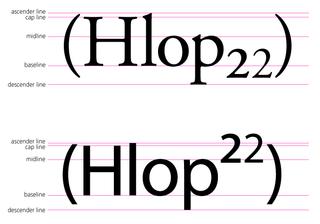 Subscript and superscript