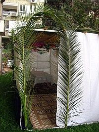 A sukkah with palm leaves forming an entryway.