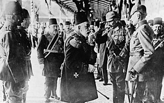 Sultan Mehmed V and Kaiser Wilhelm II in Constantinople, 1917. The Ottomans joined World War I on the side of the Central Powers. Sultan Mehmed V of Turkey greeting Kaiser Wilhelm II on his arrival at Constantinople.jpg