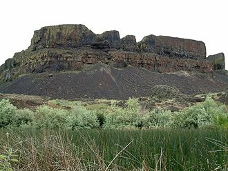 Coulee - A coulee in Sun Lakes State Park in Washington. There is a marsh in the foreground.