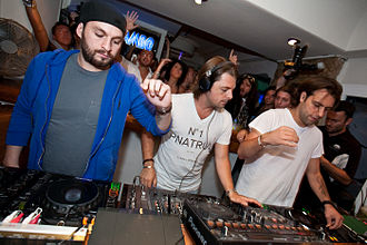 Steve Angello - Angello (left) with Swedish House Mafia performing in Ibiza