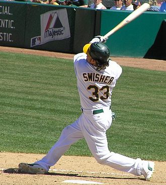 Nick Swisher - Swisher batting for the Oakland Athletics in 2005