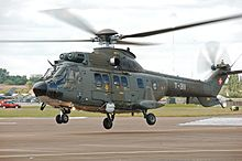 Swiss Air Force Super Puma arrives RIAT Fairford 10thJuly2014 arp.jpg