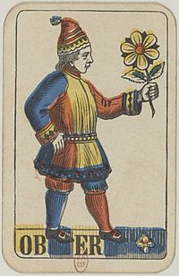 Swiss card deck - 1850 - Ober of Flowers.jpg