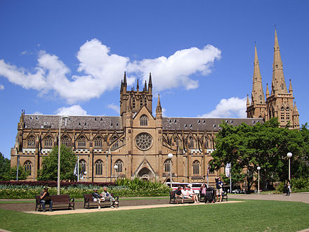 St Mary's Cathedral is the cathedral church of the Roman Catholic Archdiocese of Sydney. Sydney StMaryCathedral perspective.JPG