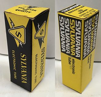 Sylvania Electric Products - Vacuum tube cartons displaying two generations of Sylvania branding