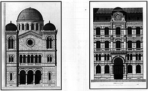 Abraham Hirsch (architect) - Architect's plan for the Grande synagogue de Lyon: The facade on the courtyard (left), the facade on the street (right). Lithograph by Lebel after Abraham Hirsch