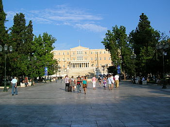English: Syntagma with parliament building, At...