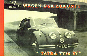"Tatra 77 - ""Tatra 77, the car of the future"" Contemporary advertisement"