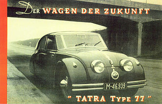 "Tatra 77 - ""The car of the future, Tatra 77"": contemporary advertisement"
