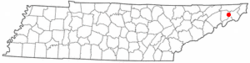 Location of Johnson City, Tennessee