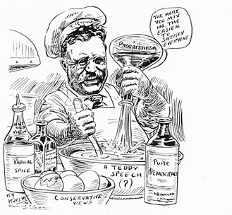 Progressive Party (United States, 1912) -  Roosevelt mixing spicy ingredients in his speeches in this 1912 editorial cartoon by Karl K. Knecht (1883–1972)  in the Evansville Courier