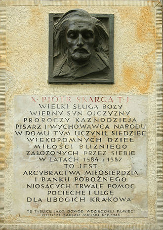 Piotr Skarga - Kraków plaque commemorating Skarga