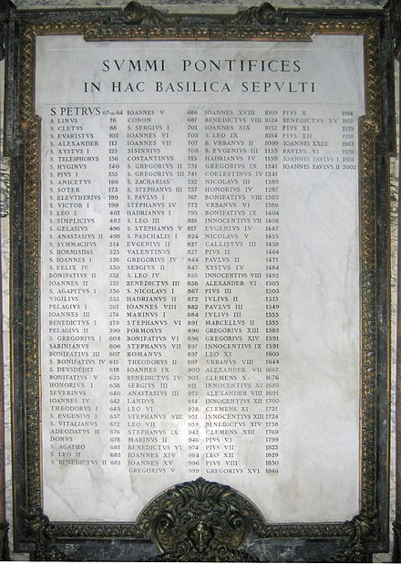 Plaque commemorating the popes buried in St. Peter's (their names in Latin and the year of their burial) Tafel paepste.jpg