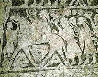 Seiðr - The 7th century Tängelgårda stone shows Oðinn leading a troop of warriors all bearing rings. Valknut symbols are drawn beneath his horse, which is depicted with four legs.
