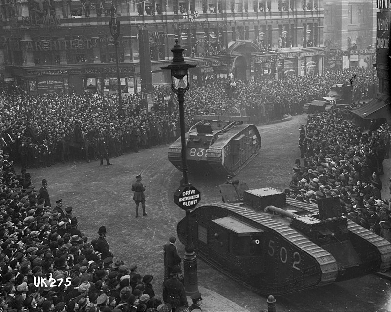 Tanks on parade in London at the end of World War I, 1918 (3056450509).jpg