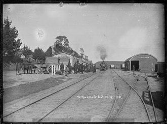 Te Awamutu railway station - Te Awamutu railway station about 1909.