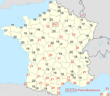 Carte des températures minimales relevées en France le 12 août 2003 (jour le plus chaud de l'année) d'après Météo-France