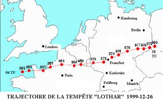 Cyclones Lothar and Martin - Image: Tempête Lothar