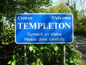 Templeton, Pembrokeshire - Image: Templeton sign
