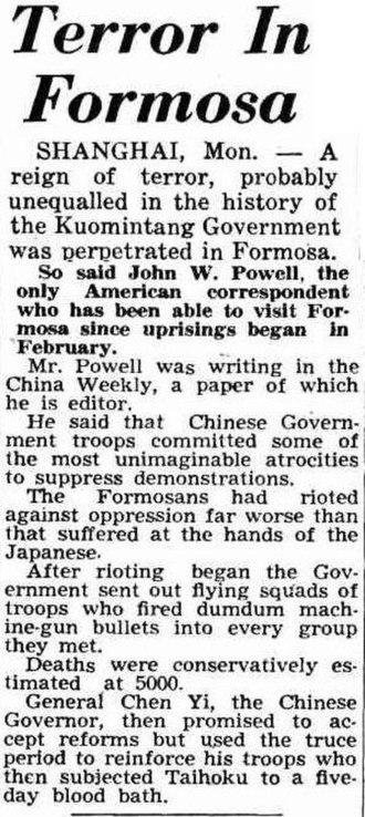 "February 28 incident - ""Terror In Formosa"", a news article from The Daily News of Perth, reported the status in March."