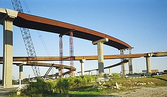 Greater Austin - Interchange of Interstate 35 and State Highway 45 under construction in 2004.