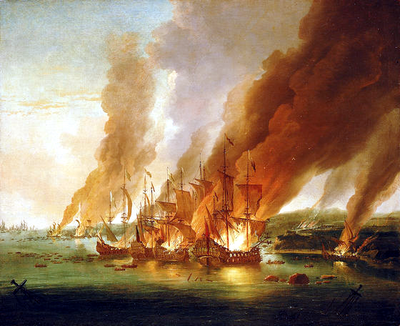 La Hogue, May 1692; defeat ended French hopes of a decisive blow against England. The Battle of La Hogue, 23 May 1692.png