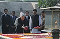 The Emperor of Japan, His Majesty Akihito paying floral tributes at the Samadhi of Mahatma Gandhi, at Rajghat, in Delhi on December 02, 2013.jpg