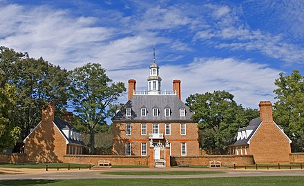 Williamsburg was Virginia's capital from 1699 to 1780. The Governor's Palace -- Williamsburg (VA) September 2012.jpg