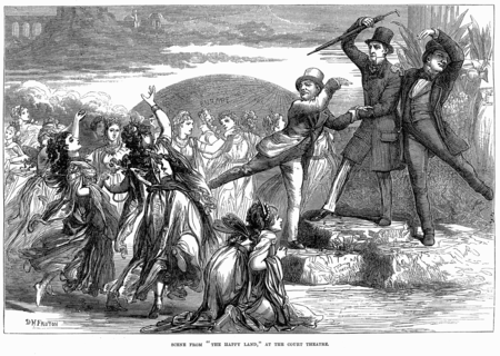 Scene from The Happy Land, showing the scandalous impersonation of Gladstone, Lowe, and Ayrton The Happy Land - Illustrated London News, March 22, 1873.PNG